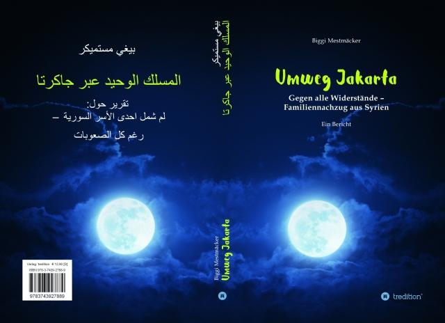 """Deutsch-arabisches Buchcover von """"Umweg Jakarta"""""""