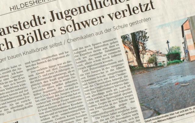 Zeitungsbericht über Böller-Unglück